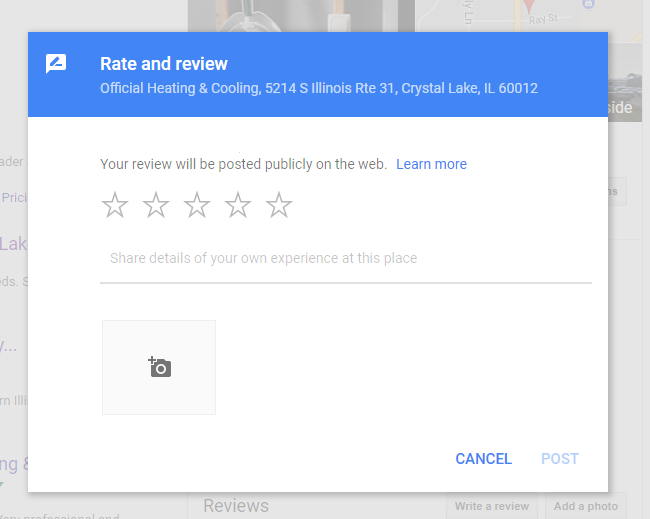 google review - official heating & cooling - save