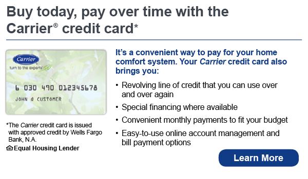 carrier credit card - hvac financing